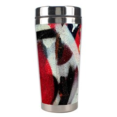 Abstract Graffiti Background Wallpaper Of Close Up Of Peeling Stainless Steel Travel Tumblers