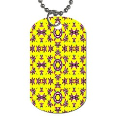 Yellow Seamless Wallpaper Digital Computer Graphic Dog Tag (one Side) by Nexatart