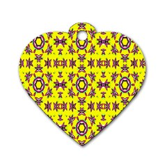 Yellow Seamless Wallpaper Digital Computer Graphic Dog Tag Heart (two Sides)
