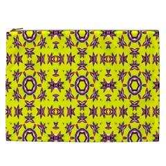 Yellow Seamless Wallpaper Digital Computer Graphic Cosmetic Bag (xxl)  by Nexatart