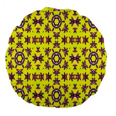 Yellow Seamless Wallpaper Digital Computer Graphic Large 18  Premium Round Cushions by Nexatart
