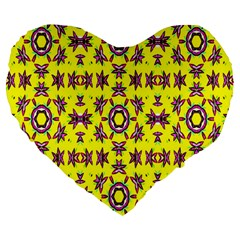 Yellow Seamless Wallpaper Digital Computer Graphic Large 19  Premium Heart Shape Cushions by Nexatart