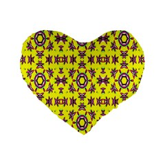 Yellow Seamless Wallpaper Digital Computer Graphic Standard 16  Premium Flano Heart Shape Cushions by Nexatart
