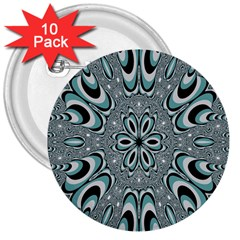 Kaleidoskope Digital Computer Graphic 3  Buttons (10 Pack)