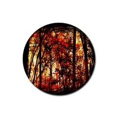 Forest Trees Abstract Rubber Coaster (round)  by Nexatart