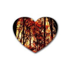 Forest Trees Abstract Rubber Coaster (heart)  by Nexatart
