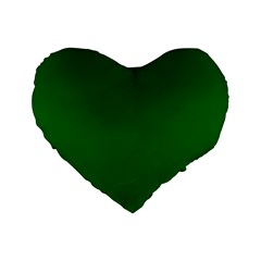 Dark Plain Green Standard 16  Premium Heart Shape Cushions by Jojostore