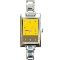 Trolley Yellow Brown Tropical Rectangle Italian Charm Watch by Jojostore