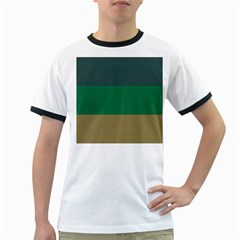Blue Green Brown Ringer T-Shirts
