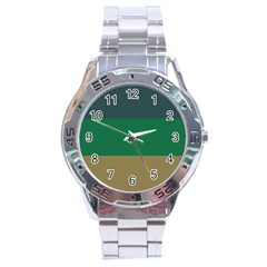 Blue Green Brown Stainless Steel Analogue Watch by Jojostore