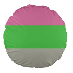 Grey Green Pink Large 18  Premium Round Cushions by Jojostore