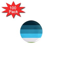 Line Color Black Green Blue White 1  Mini Magnets (100 Pack)  by Jojostore