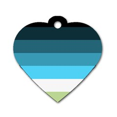 Line Color Black Green Blue White Dog Tag Heart (one Side) by Jojostore