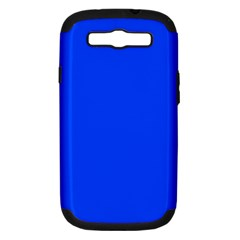 Plain Blue Samsung Galaxy S Iii Hardshell Case (pc+silicone) by Jojostore