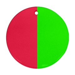 Neon Red Green Round Ornament (two Sides) by Jojostore