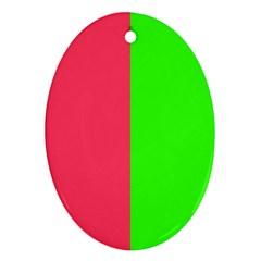 Neon Red Green Oval Ornament (two Sides) by Jojostore