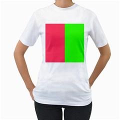 Neon Red Green Women s T Shirt (white)  by Jojostore