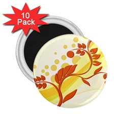 Floral Flower Gold Leaf Orange Circle 2 25  Magnets (10 Pack)  by Jojostore