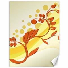 Floral Flower Gold Leaf Orange Circle Canvas 36  X 48   by Jojostore