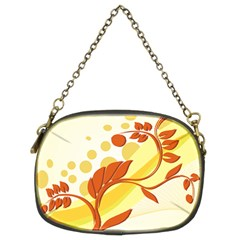 Floral Flower Gold Leaf Orange Circle Chain Purses (two Sides)  by Jojostore