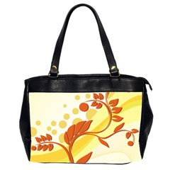 Floral Flower Gold Leaf Orange Circle Office Handbags (2 Sides)  by Jojostore