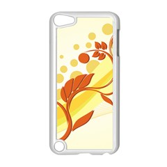 Floral Flower Gold Leaf Orange Circle Apple Ipod Touch 5 Case (white) by Jojostore