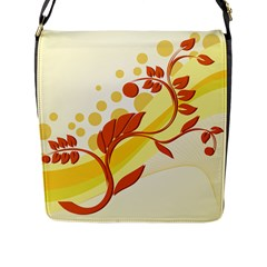 Floral Flower Gold Leaf Orange Circle Flap Messenger Bag (l)  by Jojostore