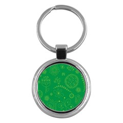 Green Floral Star Butterfly Flower Key Chains (round)  by Jojostore