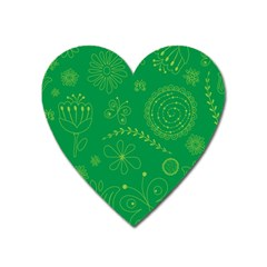 Green Floral Star Butterfly Flower Heart Magnet by Jojostore