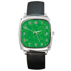 Green Floral Star Butterfly Flower Square Metal Watch by Jojostore