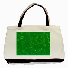 Green Floral Star Butterfly Flower Basic Tote Bag (two Sides) by Jojostore
