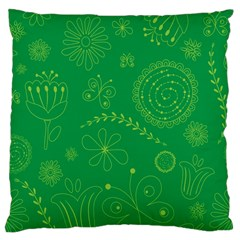 Green Floral Star Butterfly Flower Standard Flano Cushion Case (two Sides) by Jojostore