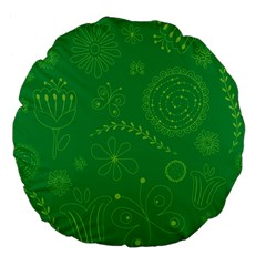 Green Floral Star Butterfly Flower Large 18  Premium Flano Round Cushions by Jojostore