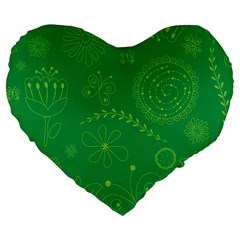Green Floral Star Butterfly Flower Large 19  Premium Flano Heart Shape Cushions by Jojostore