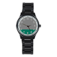 Trolley Grey Green Tropical Stainless Steel Round Watch by Jojostore