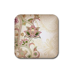 Floral Flower Star Leaf Gold Rubber Square Coaster (4 Pack)  by Jojostore