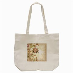 Floral Flower Star Leaf Gold Tote Bag (cream) by Jojostore