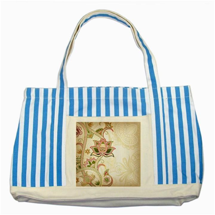 Floral Flower Star Leaf Gold Striped Blue Tote Bag