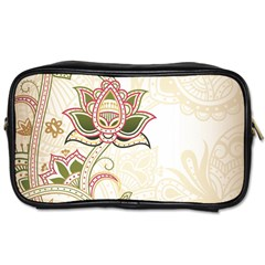 Floral Flower Star Leaf Gold Toiletries Bags 2 Side by Jojostore