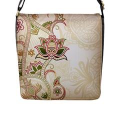 Floral Flower Star Leaf Gold Flap Messenger Bag (l)  by Jojostore