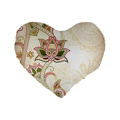 Floral Flower Star Leaf Gold Standard 16  Premium Flano Heart Shape Cushions by Jojostore