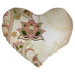 Floral Flower Star Leaf Gold Large 19  Premium Flano Heart Shape Cushions by Jojostore