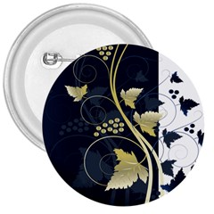 Tree Leaf Flower Circle White Blue 3  Buttons by Jojostore