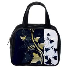 Tree Leaf Flower Circle White Blue Classic Handbags (one Side) by Jojostore