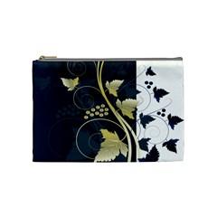 Tree Leaf Flower Circle White Blue Cosmetic Bag (medium)  by Jojostore