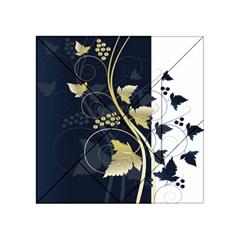 Tree Leaf Flower Circle White Blue Acrylic Tangram Puzzle (4  X 4 ) by Jojostore