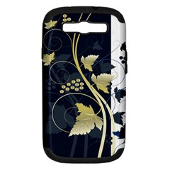 Tree Leaf Flower Circle White Blue Samsung Galaxy S Iii Hardshell Case (pc+silicone) by Jojostore
