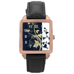 Tree Leaf Flower Circle White Blue Rose Gold Leather Watch  by Jojostore