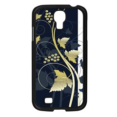 Tree Leaf Flower Circle White Blue Samsung Galaxy S4 I9500/ I9505 Case (black) by Jojostore
