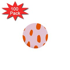 Polka Dot Orange Pink 1  Mini Buttons (100 Pack)  by Jojostore